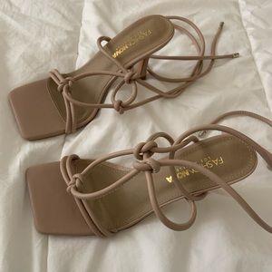FASHION NOVA 🍾 Nude Lace Up Heels